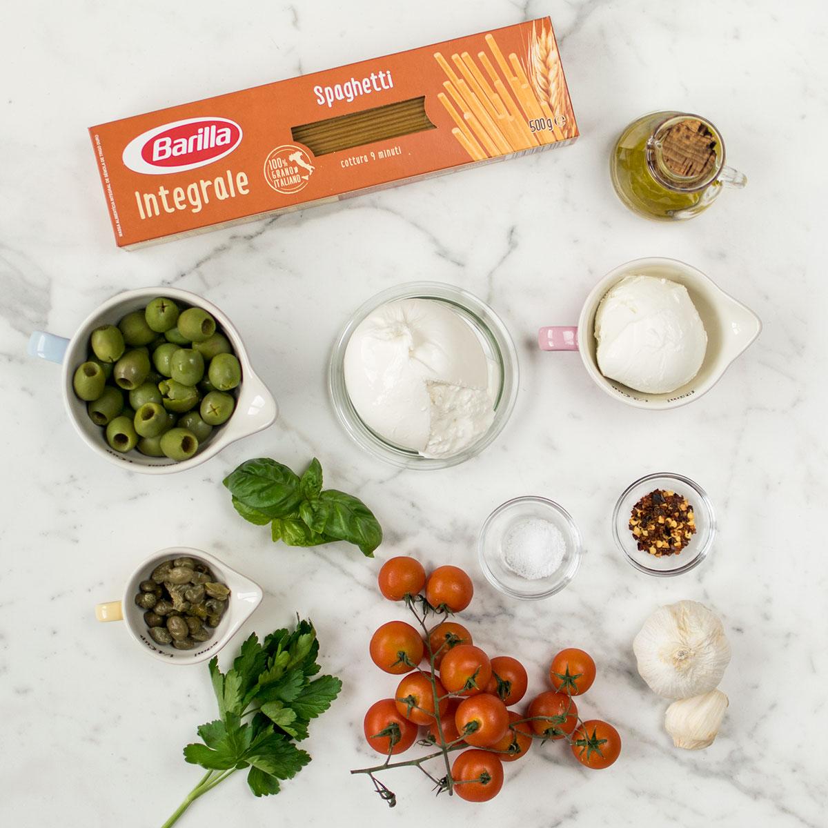 spaghetti_integrali_pomodorini_burrata_ingredienti